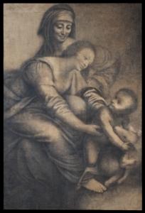 Bernardino Lanino (Mortara 1512ca - Vercelli 1583) Madonna col Bambino e Sant'Anna Carboncino, acquerello seppia, tracce di lumeggiature a biacca e matita su carta.