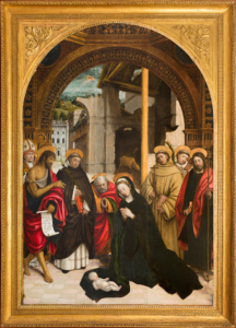 Defendente Ferrari (Chivasso 1480/1485-1540 ca.) Adorazione del Bambino Olio su tavola.