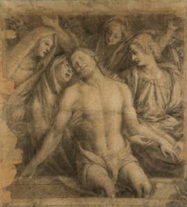 Gaudenzio Ferrari (Valduggia 1475ca, Milano 1546) Pietà Carboncino, matita nera e gessetto su carta.