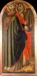 Filippo Lippi ( Firenze 1406, Spoleto 1469) Santi Agostino e Ambrogio e Santi Gregorio e Girolamo Tempera su tavola.