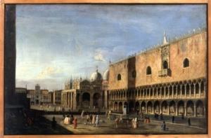 Maestro delle vedute dell' Accademia Albertina Veduta di Piazza San marco dal lato del palazzo Ducale Olio su tela