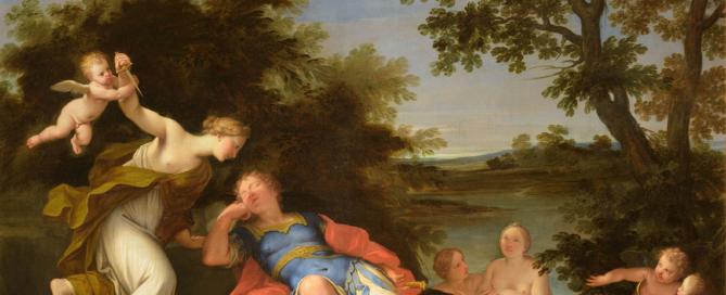MARCANTONIO FRANCESCHINI, Armida sul punto di uccidere Rinaldo. Olio su tela, 107.5x135cm con cornice.